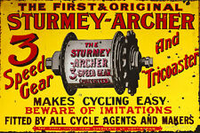 Sturmey Archer 3 Speed Gear Enamel Paint Galvanized Metal Sign.
