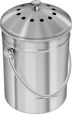 KICHLY [5 Liter Seau à Compost en Acier Inoxydable pour 5 L, Argentés