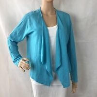 J. Jill Linen Blend Open Front Cardigan Sweater Size M Blue Long Sleeve
