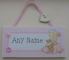 Girl with Bear Personalised Childrens Name Kids Door plaque Sign Childs Handmade