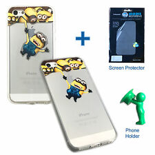 TPU Minions iPhone Case plus screen protector and phone holder For iPhone 5 5s