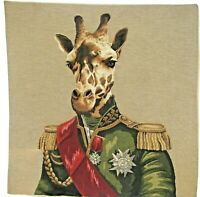 "NEW 18"" ARISTOFARI GIRAFFE BELGIAN TAPESTRY CUSHION COVER WITH ZIP CLOSURE 5321"