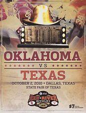 2010 OU OKLAHOMA SOONERS VS TEXAS LONGHORN GAME PROGRAM EXCELLENT CONDITIO