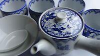 Vtg Porcelain Blue & White Japanese Side Handle Teapot,4 Matching Cups,Rice Bowl