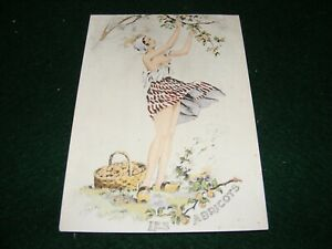 POSTCARD ART E MAUDY PRETTY GIRL SCANTILY CLOTHED PICKING APRICOTS FRENCH LITHO