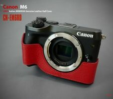 LIM'S Genuine Italy Leather Camera Half Case Cover For Canon EOS M6 - Red