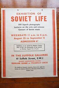 1941 Soviet Life Exhibition in Suffolk Galleries London Original Poster Russia