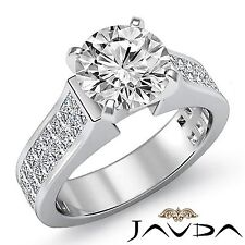 Round Cut Diamond Invisible Set Engagement Ring GIA F SI1 14k White Gold 3.25ct