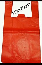 """HEAVY DUTY VEST RED CARRIER BAGS 3400x BAGS (11""""x17""""x21"""")"""