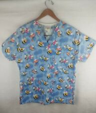 Peaches Uniform Scrub Top Size Small- Bumblebees and Butterflies