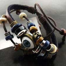 BRACELET CUFF BANGLE GENUINE REAL EVIL EYE CHARM LEATHER STRAND BEAD DESIGN