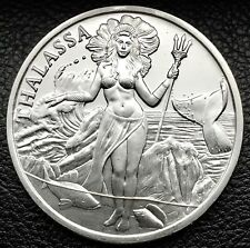 Trident Silver Thalassa Goddess Of The Sea 1 oz .999 Silver Art Round Coin