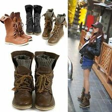 Punk Womens Lady Combat Leather Lace Up Military Ankle Boots Goth Shoes Plus Sz
