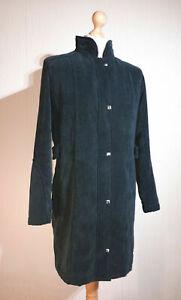 Klass 3/4 Length Military Style Corduroy Coat Ladies Size M Dark Jade Green