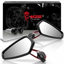 "Red 7/8"" Motorcycle Handle Bar End Rearview Side Mirrors For Yamaha Honda Suzuki"