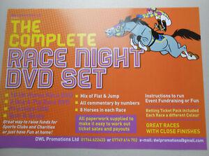 THE COMPLETE RACE NIGHT DVD HORSE RACING SET  QUIZ AND BINGO TICKETS FUN+GAMES