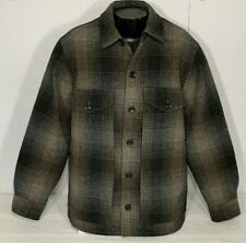 Eddie Bauer Thick Wool Quilted Lined Shadow Plaid Outdoor Jacket Mens L WARM!