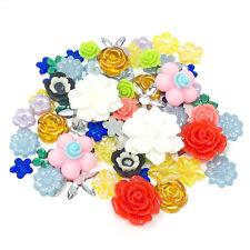 80 Mix Flower Shabby Chic Resin Flatbacks Craft Cardmaking Embellishments