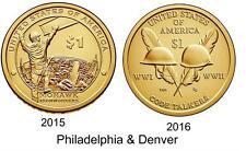 2015 & 2016 P & D Native American Dollar Coin Set  4 Coin Set