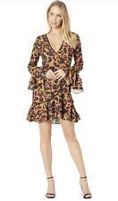 bebe Womens Denise Ruffle Wrap Dress Dornish Cat / Small Sz 6 Nwt