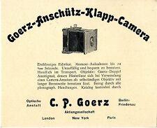 Goerz-Anschütz-Klapp-Camera Optische Anstalt C. P. Goerz Berlin Friedenau 1904