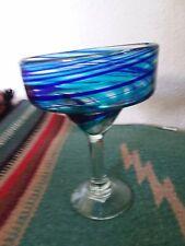 Turquoise and Cobalt Blue Swirl Handblown Glassware