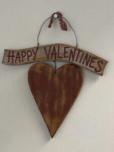 HAPPY VALENTINE'S WOOD WALL DOOR DECORATION SHABBYCOUNTRY PRIMITIVE