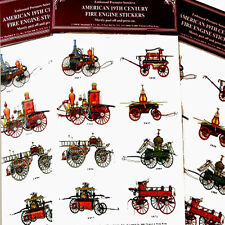 Antique AMERICAN FIRE ENGINE Seals Stickers (Lot of 24) Mint/Sealed SHACKMAN
