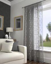 Harrogate Leaf Floral Grey Slot Top Voile Net Curtain Panel 55 Wide X 48 Drop