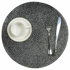 Round Placemats Set of 6 Woven Table Mats PVC Heat Resistant Dining Table Gray