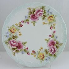 ANTIQUE CAKE PLATE EMBOSSED PINK & YELLOW ROSE FLOWER GARLAND