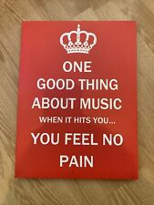 One Good Thing About Music Canvas Wall Art - Bob Marley Quote Keep Calm