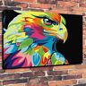 """Abstract Eagle Pop Art Color Animal Printed Canvas Picture A130""""x20"""" Deep 30mm"""
