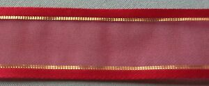 """5 Yds. RED & GOLD SHEER RIBBON  7/8"""" wide"""