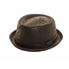 MENS WOMENS UNISEX BLACK WORN LOOK PORK PIE TRILBY HAT