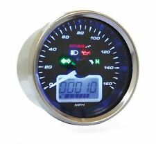 Koso D64 Chrome Style Tachometer Signalleuchten 160 mph NEU Meilen Motorrad BB6