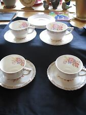 French Saxon China - Lily Pattern  4 Cups And  7 Saucers Set 22 K Gold EUC