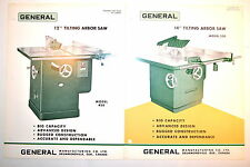 """2pc GENERAL Canada 12"""" & 14"""" TILTING ARBOR Table SAW ADVERTISEMENTS #RR638"""