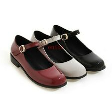 New Womens Ladies Patent Leather Cuban Low Heels Ankle Strap Oxfords Mary Janes