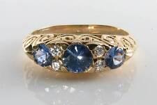 LARGE 9K 9CT GOLD RARE CEYLON SAPPHIRE & DIAMOND VINTAGE INS RING FREE RESIZE