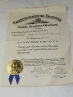 OFFICIAL KENTUCKY COLONEL CERTIFICATE 1959 HON.Thomas Mayo Signed by A.Chandler