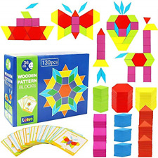 130 PCS Wooden Pattern Blocks Geometric Shape Puzzles Classic Educational Toys