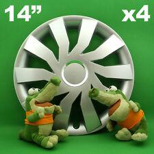 """Enjoliveurs 14"""" Cliff ★ 4 pièces ★ ARGENT pour SEAT Ibiza Mii PEUGEOT 107 206"""