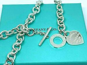TIFFANY & CO. Heart Tag Toggle 925 Silver Necklace w/ Box & Pouch