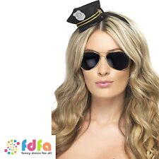 BLACK MINI COP POLICE HAT WITH BADGE & ROPE ladies womens fancy dress costume
