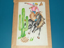 Vintage Polly-Dell Textile Stencil Set #3437 - Cowboy Bronco Cactus