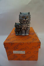 VINTAGE CAT FIGURINE GOEBEL GRAY MAMA WITH KITTEN GERMANY 3100812 PORCELAIN