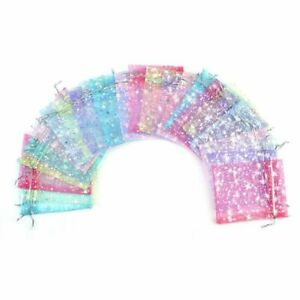 50 Pcs 9x12cm Star Organza Bags Christmas Gift Pouches Jewelry Packaging Bag Lot