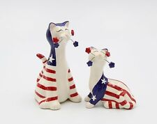CERAMIC CAT WITH FLAG SALT AND PEPPER SHAKER SET
