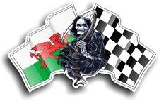 Grim REAPER Muerte Gales Welsh Cymru Bandera Diseño Con Vinilo Pegatina de Coche 130x80mm
